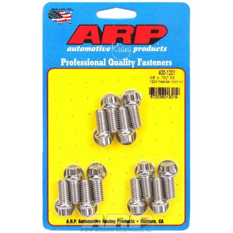 400-1201 6 Point Header Bolts, 3/8-16 in. Thread,
