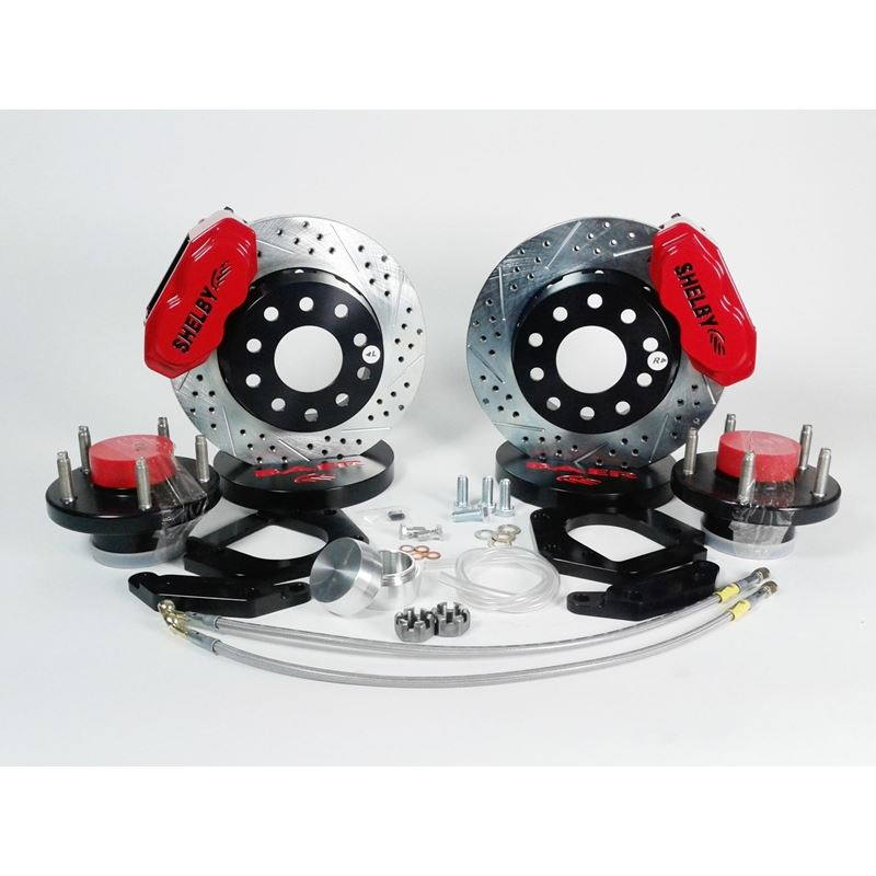 Brake System 11 Inch Front SS4+ Shelby Logo Red Al